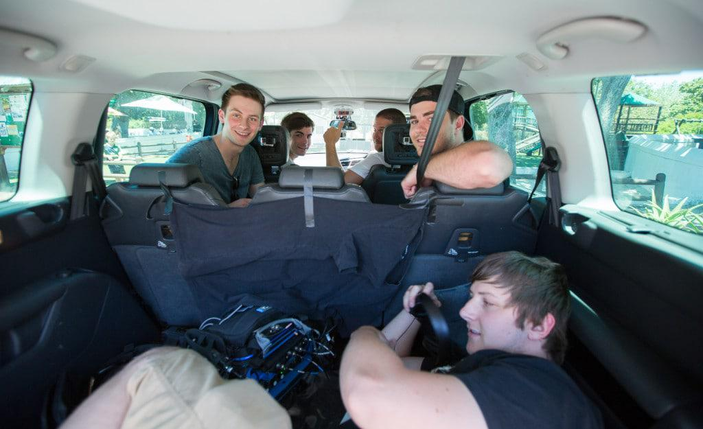 Opposite the Other with Gavin our sound guy in the boot!