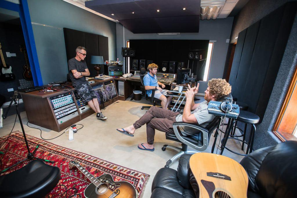 Team chat during the recording of Gerald Clark's acoustic album at Digital Forest Studios.