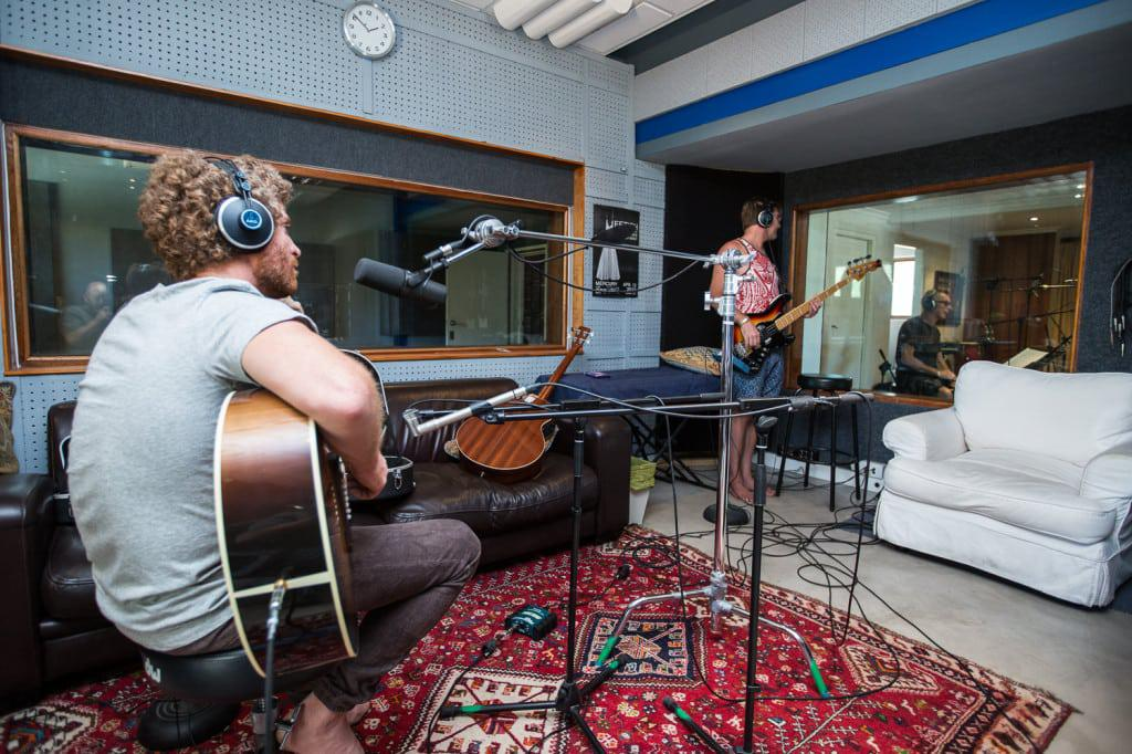 Gerald Clark, Barry van Zyl and Josh Hawks perform during the recording of Gerald Clark's acoustic album at Digital Forest Studios.