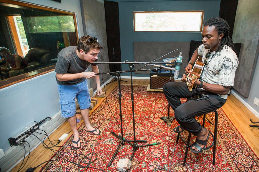 Chris Bakalanga performs during the recording of Gerald Clark's acoustic album at Digital Forest Studios.