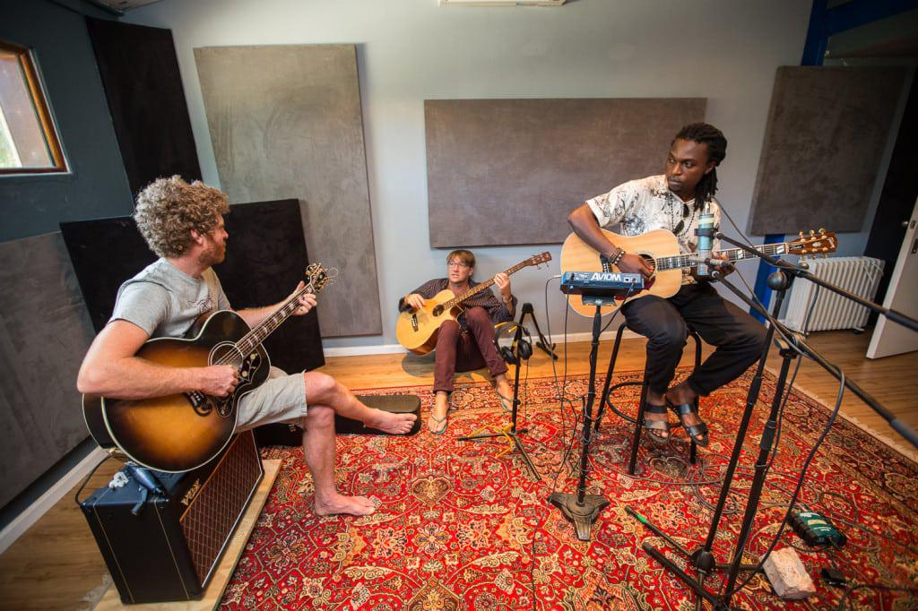 Gerald Clark, Josh Hawks and Chris Bakalanga during the recording of Gerald Clark's acoustic album at Digital Forest Studios.